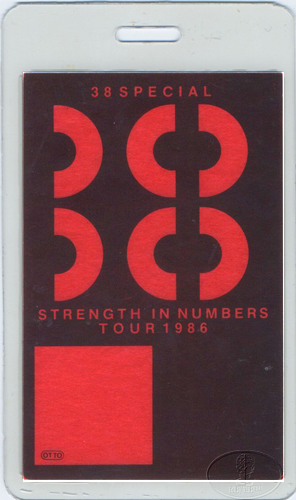 .38 SPECIAL 1986 NUMBERS Laminated Backstage Pass
